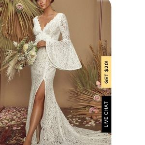 Lulus Duchess Lace White Ivory Bell Sleeve Dress